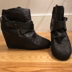ALDO Black Bootie Wedges with Leather Strap